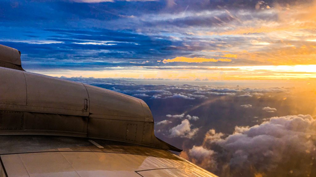 The sun rises as the P-3 begins yet another mission into Hurricane Dorian.