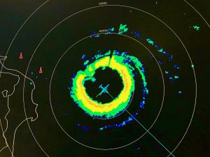 Radar image from the NOAA P-3 captures the aircrafts location within the eye of Hurricane Dorian.