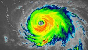 Radar image of Hurricane Dorian showing the eye of the storm centered over the Abaco Islands in the Bahamas.