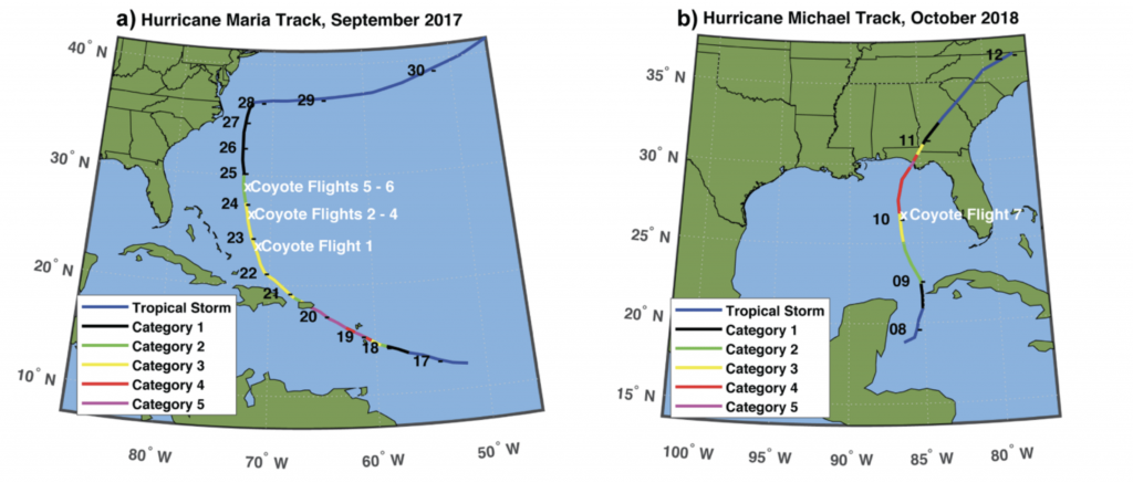 A depiction of Coyote research flights into hurricanes (a) Maria in 2017 and (b) Michael in 2018 showing location of flight and storm intensity. Credit: NOAA
