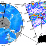 (left) Location of the three repeat XBT transects (AX25, AX22, and IX28) in the Southern Ocean. (right) Altimetry-derived magnitude of surface geostrophic currents for November 10, 2010, showing the multi-front signature of the ACC, from which the SAF and APF are highlighted. Overlaid is the location of AX25 (gray line), and the location of these fronts for November 10, 2010 (shaded markers). Image Credit: NOAA AOML.