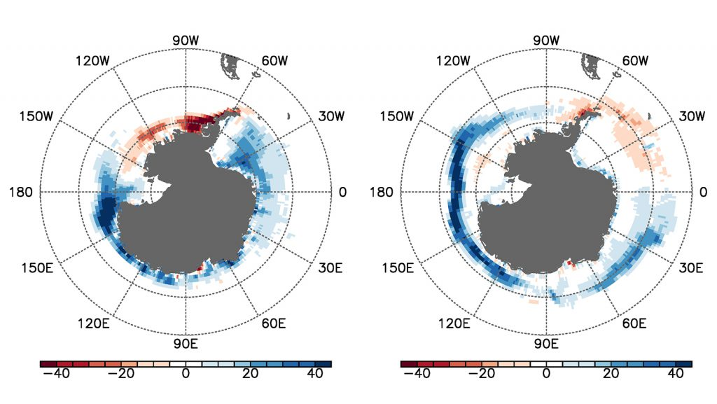 Linear trends of Antarctic sea-ice concentration during (a) the warm (December-May) and (b) cold (June-November) seasons, obtained from the Hadley Center sea-ice and sea surface temperature data sets over the period of 1979-2014. The units are % in 35 years.