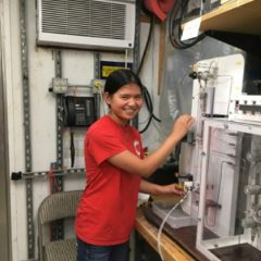 Katey Injecting Samples into the Gas Chromatography Machine. Photo Credit: NOAA.