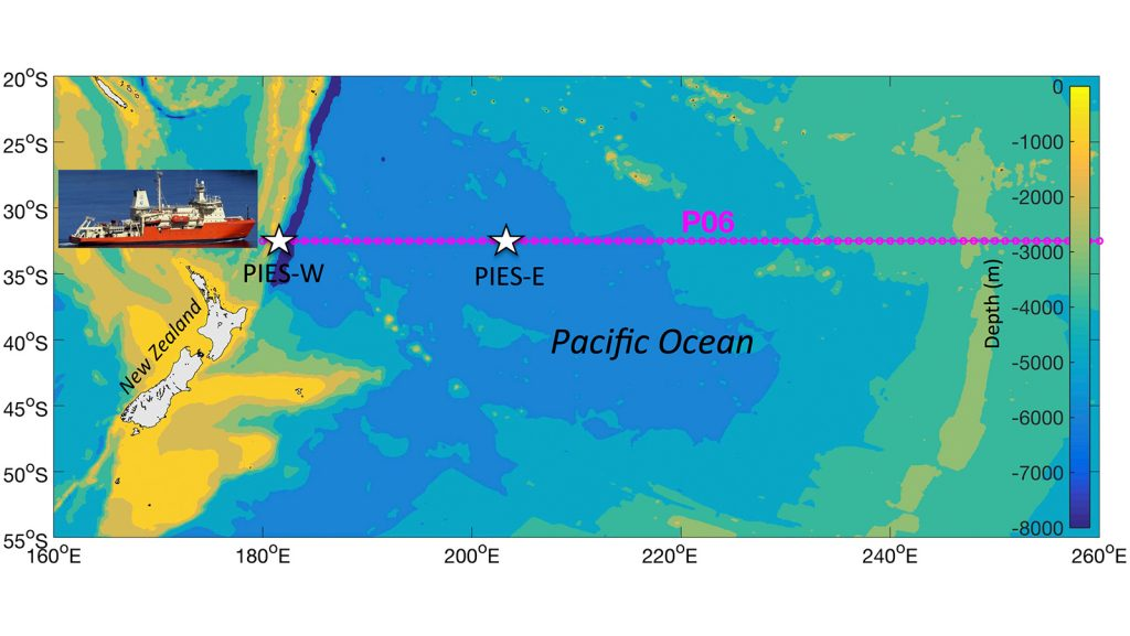 Proposed locations for the western and eastern PIES deployments in the subtropical South Pacific (stars). The magenta line shows the P06 cruise track along 32.5°S. Photo Credit: NOAA.