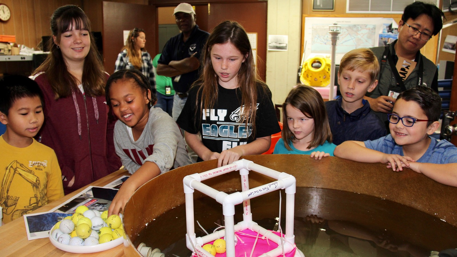 Following a buoyancy lesson, the kids were tasked with building their own buoy. The winning buoy held more than 33 golf balls! Image credit: NOAA