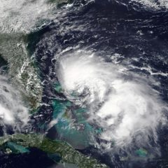 Satellite image of Tropical Storm Humberto east of the Bahamas on ­September 14. Photo Credit: NOAA AOML.