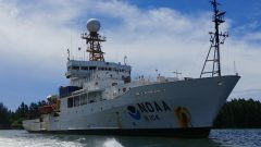 "NOAA Research Vessel ""Ronald H. Brown"" in the harbor of Victoria, Seychelles. Photo Credit: NOAA."