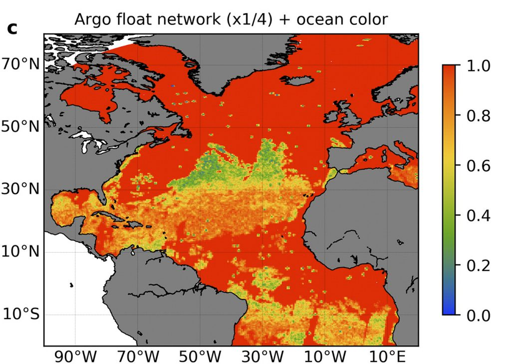 Argo float network showing Chlorophyll measurements from synthetic BGC Argo array