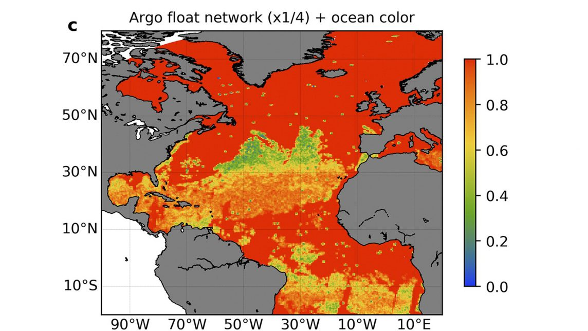 Estimated observations of chlorophyll with simulated observations from satellite and 1000 BGC-Argo floats.
