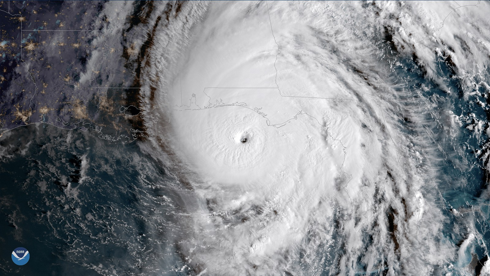Satellite image of Hurricane Micheal. Image Credit, NOAA.
