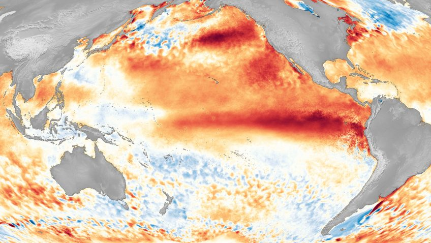 El Nino Satellite Image. Image Credit: NOAA National Environmental Satellite, Data, and Information Service (NESDIS)